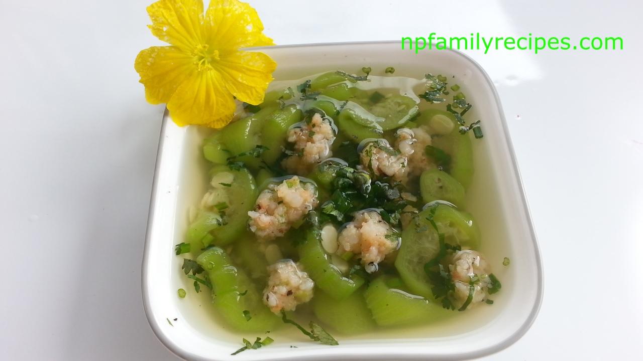 Luffa Soup with Shrimp Balls (Canh Mướp Tôm Viên) - www.npfamilyrecipes.com
