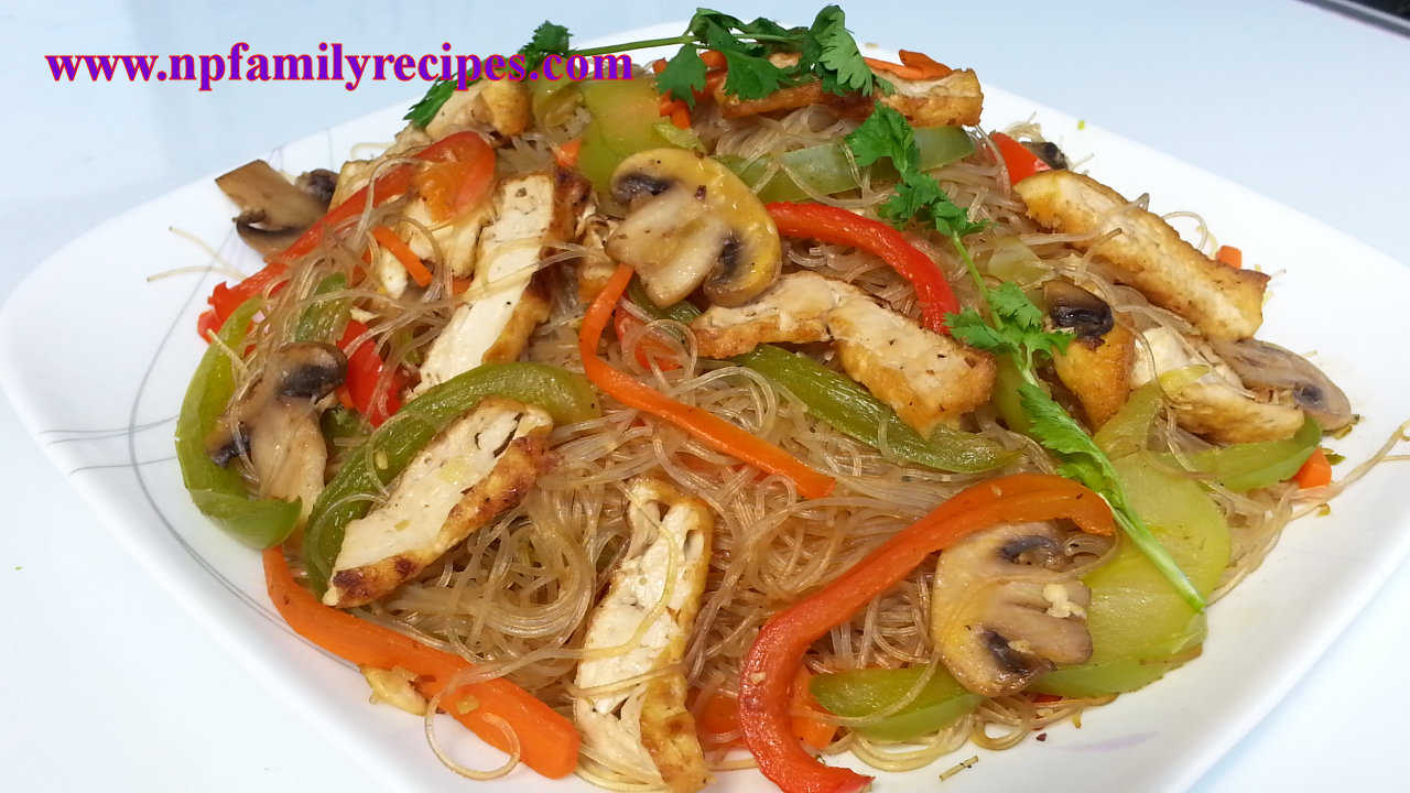 Vegetarian Stir-fry Glass Noodle with Tofu Recipe (Miến ...