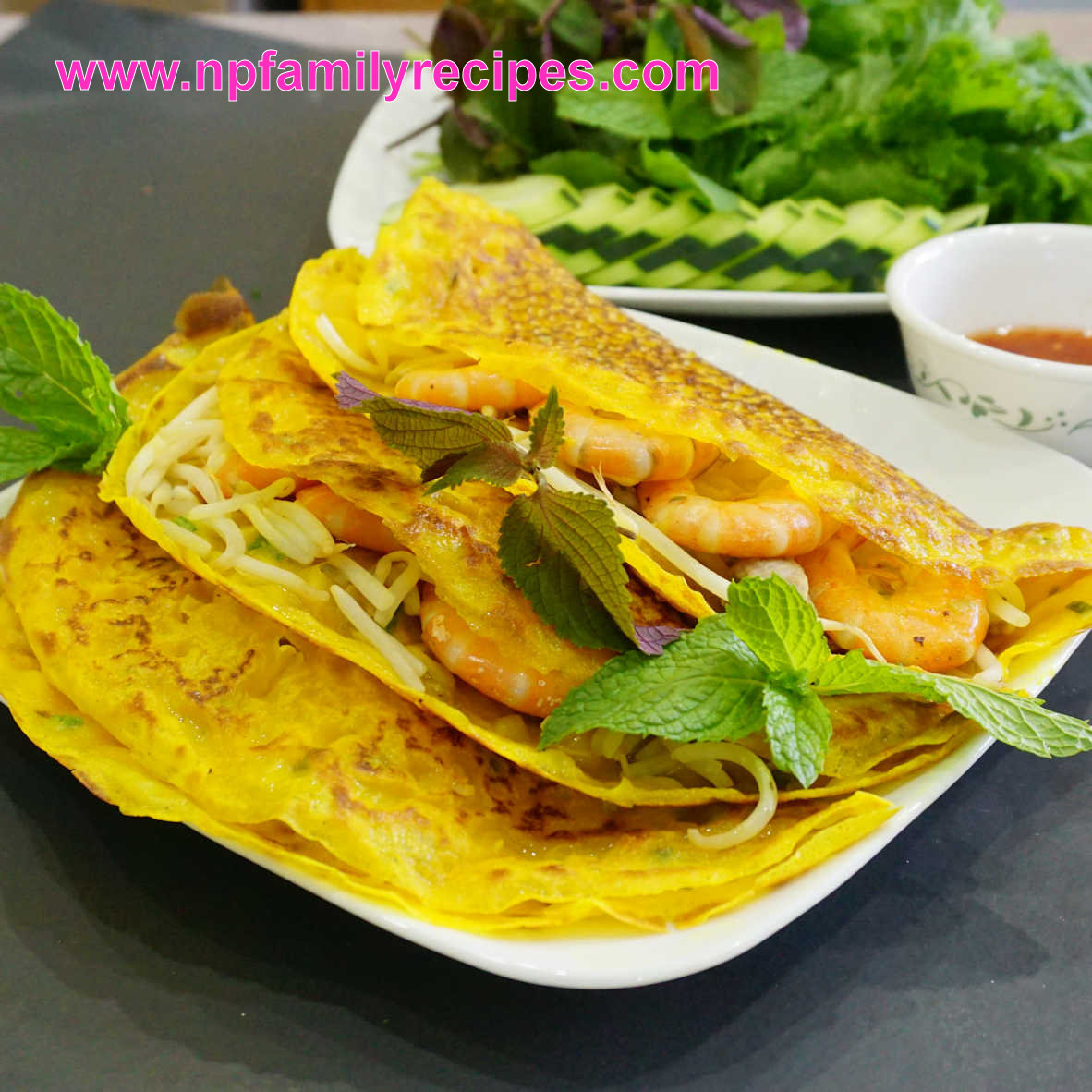 Vietnamese Sizzling Crepe Recipe (Bánh Xèo) - NPFamily Recipes