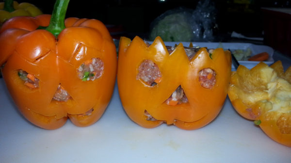 Halloween Stuffed Bell Pepper - www.npfamilyrecipes.com